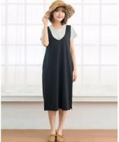 Nursing Dress - 2pcs V Singlet Dress
