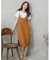 Nursing Dress - 2pcs Bell Dress Khaki