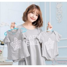 Nursing Set - Happy Smile Grey (plus baby romper)
