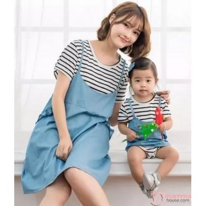 Nursing Set - Denim Dress (plus baby romper)