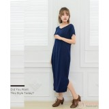 Nursing Dress - Simple Long Dress Dark Blue
