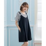 Nursing Dress - 2pcs Stripe Set Black