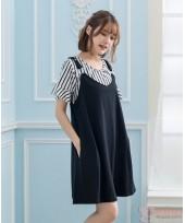 Nursing Dress - 2pcs Stripe Set Black