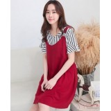 Nursing Dress - 2pcs Stripe Set Red
