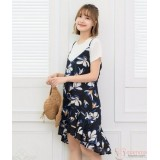 Nursing Dress - 2pcs Ive Flora Dark Blue