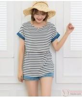Nursing Tops - Denim Stripe White