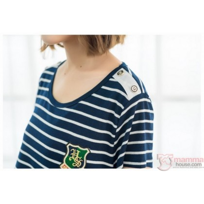 Nursing Set - Badge Stripe dark blue (plus baby romper)
