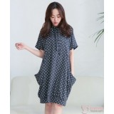 Nursing Dress - Polka Dark Grey
