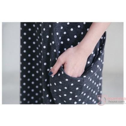 Nursing Dress - Polka Dark Grey