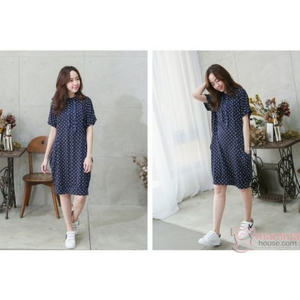 Nursing Dress - Polka Dark Blue