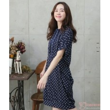 Nursing Dress - Polka Dark Blue