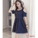 Maternity Dress - Shoulder Polka Dark Blue