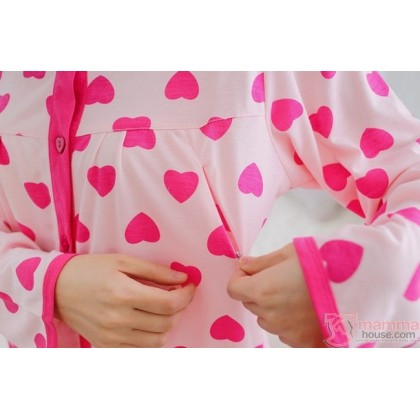 Mamma Pajamas - Long Heart Pink Heart