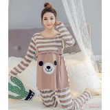Mamma Pajamas - Long Bear Stripe Brown