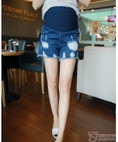 Maternity Shorts - Destructed Blue