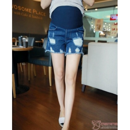 Maternity Shorts - Destructed Blue Jeans