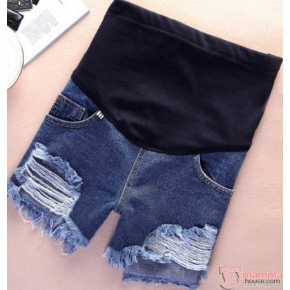 Maternity Shorts - Dave Blue w Destruction Jeans