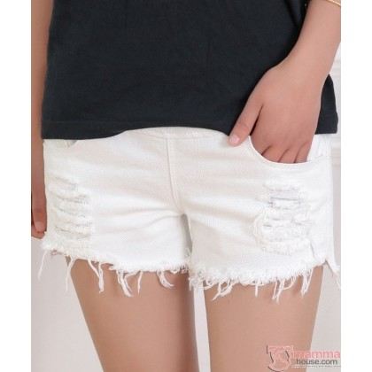 Maternity Shorts - Jeans White