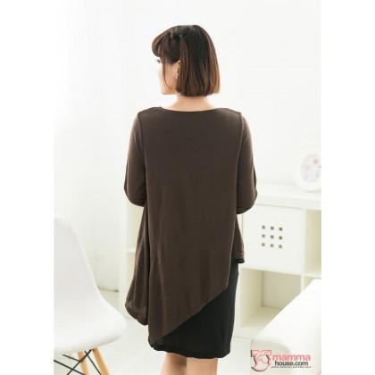 Nursing Dress - Long Modal Brown