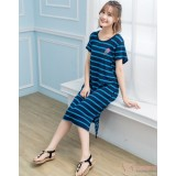 Nursing Dress - Stripe Blue Ice-cream