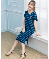 Nursing Dress - Stripe Blue Ice-cream