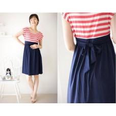 Maternity Dress - Red-White Stripe Dress