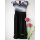 Maternity Dress - Black-White Stripe Dress