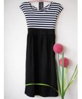 Maternity Dress - Black-White Stripe Dress