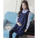 Maternity Dress - Chiffon Stripe Collar Blue