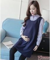 Maternity Dress - Chiffon Stripe Collar Blue