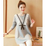 Maternity Blouse - V Ribbon Lace Grey