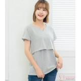 Nursing Tops - Little Neck V Grey