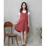 Nursing Dress - 2pcs Plain Orange Red