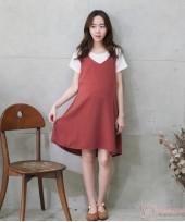 Nursing Dress - 2pcs Plain Orange Red