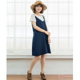 Nursing Dress - 2pcs Plain Dark Blue