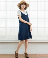 Nursing Dress - 2pcs Plain Dark Blue