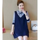 Maternity Dress - Long Ribbon V Dark Blue