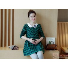 Maternity Blouse - Collar Grid Green