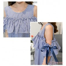 Nursing Dress - Ribbon Shoulder Stripe Blue
