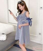 Maternity Dress - Ribbon Shoulder Stripe Blue