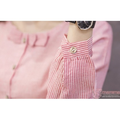 Maternity Blouse - Mid Ribbon Red Long