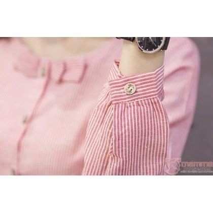 Maternity Blouse - Mid Ribbon Red Long