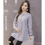 Maternity Blouse - Mid Ribbon Grey Long