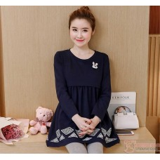 Nursing Tops - Long Rabbit Dark Blue