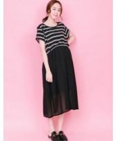 Nursing Dress - Top Stripe Black