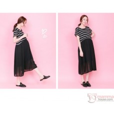 Nursing Dress - Top Stripe Black