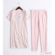 Mamma Pajamas - JP Ribbon Stripe Pink
