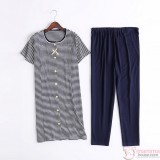 Mamma Pajamas - JP Ribbon Stripe Dark Blue