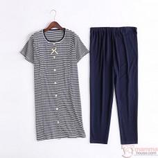 Mamma Pajamas - JP Ribbon Stripe Dark Blue