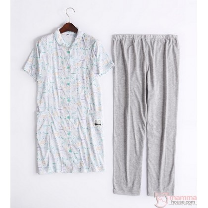 Maternity Nursing Pajamas - JP Cartoon Blue